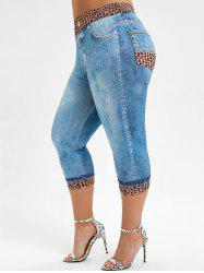 High Waisted Capri Leopard Panel Plus Size Jeggings -