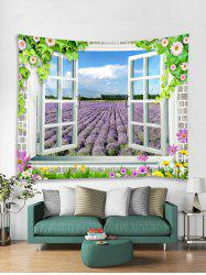 Window Lavender Floral 3D Print Wall Tapestry -