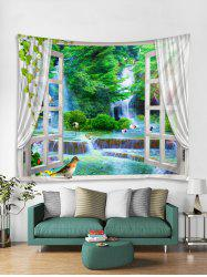 Window Forest Waterfall Print Tapestry Wall Hanging Art Decoration -
