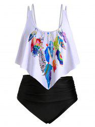 Ruched Overlay Flounces Feather Print Plus Size Tankini Swimsuit -