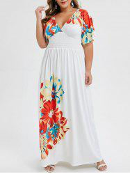 Plus Size Low Cut Smocked Floral Maxi Dress -