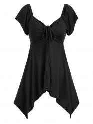 Cinched Sweetheart Neck Asymmetrical Top -