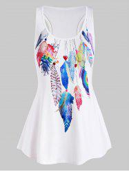 Racerback High Low Colorful Feather Plus Size Tank Top -