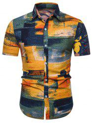 Paint Brush Print Linen Button Down Shirt -