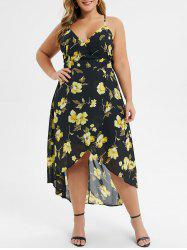 Plus Size Strappy Backless High Low Maxi Floral Dress -