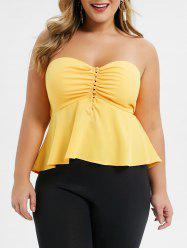 Plus Size Strapless Knotted Cut Out Flounce Tank Top -