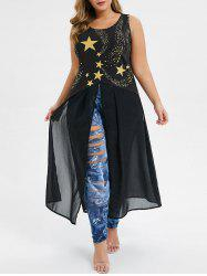 Plus Size Star Print Slit Long Tank Top -