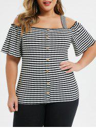 Plus Size Cold Shoulder Striped Buttoned Square Neck Tee -