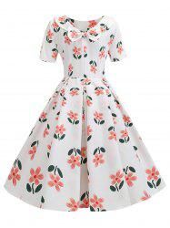 Floral Back Bowknot Vintage Dress -