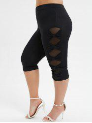 Plus Size  Bowknot Mesh Panel Capri Leggings -