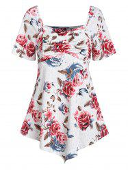 Flower Print Ruched Sweetheart Neck Tee -