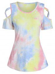 Cold Shoulder Tie Dye Print Criss-cross T-shirt -