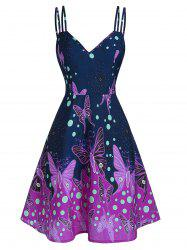 Spaghetti Strap Butterfly Print Fit And Flare Dress -