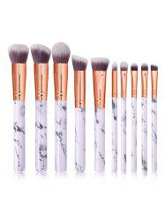 10Pcs Marble Pattern Handle Makeup Brushes -