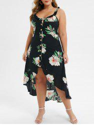 Plus Size High Low Button Up Floral Flounce Maxi Dress -