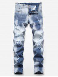 Fade Washed Ripped Pencil Jeans -