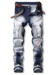 Chinese Opera Mask Patch Pencil Jeans -