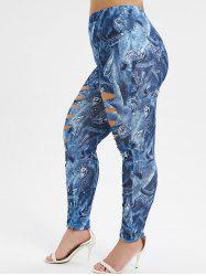 PLus Size High Waisted Ripped Patterned Jeggings -