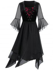 Plus Size Sheer Mesh Layered Lace Up Handkerchief Gothic Dress -