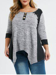 Plus Size Asymmetrical Contrast Trim Criss Cross Marled Tee -