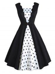 Vintage Color Block Polka Dot Pin Up Dress -