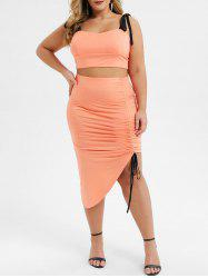 Plus Size Tie Shoulder Cinched Two Piece Bodycon Dress -