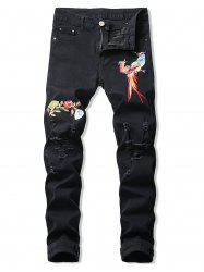 Floral Bird Embroidery Ripped Long Jeans -