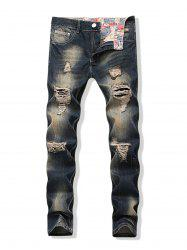 Faded Wash Long Straight Ripped Denim Pants -