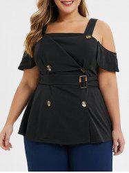 Plus Size Tailored Double Breasted Cold Shoulder Top -