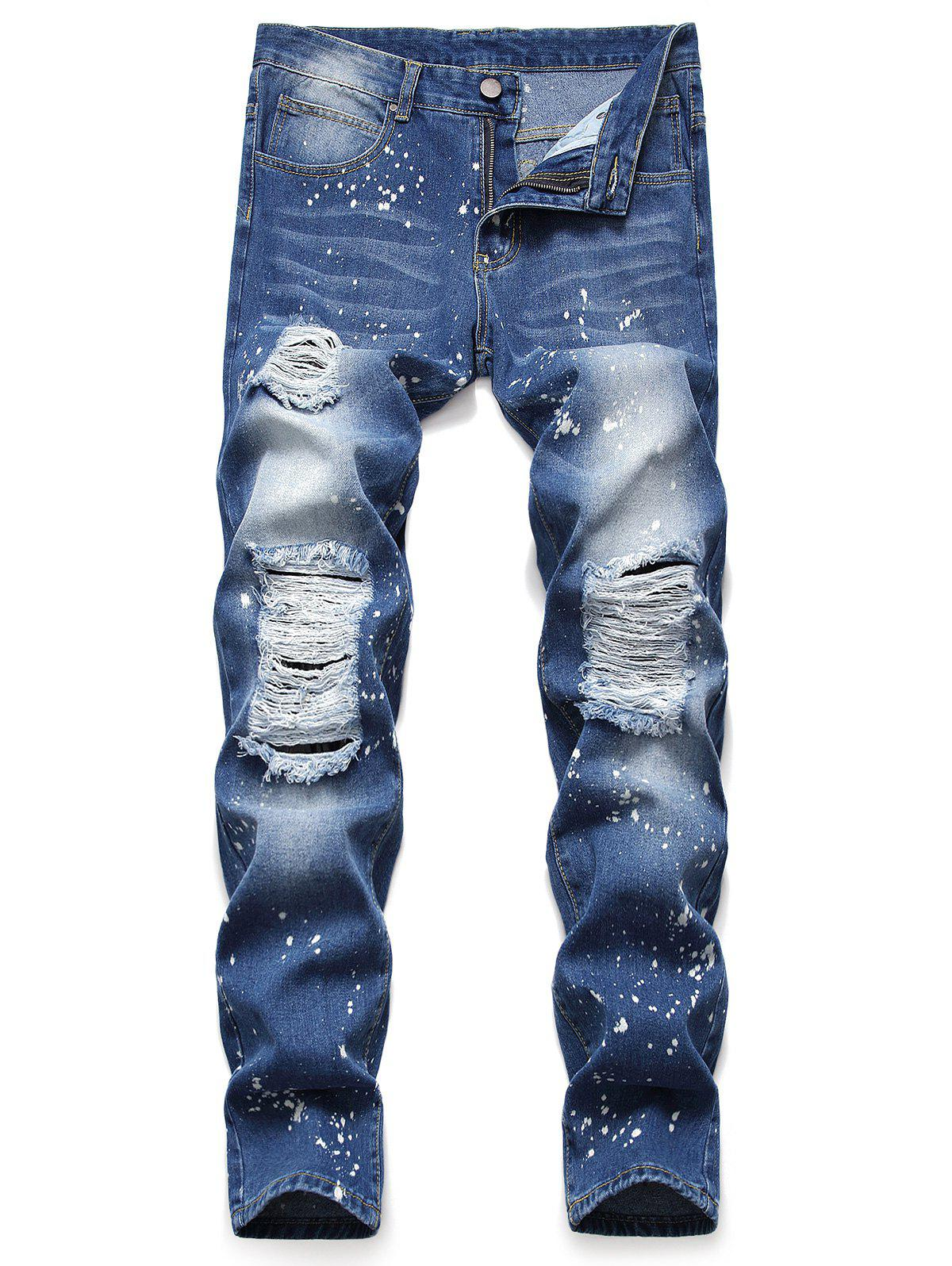 514c0530 Splatter Paint Ripped Pencil Denim Pants