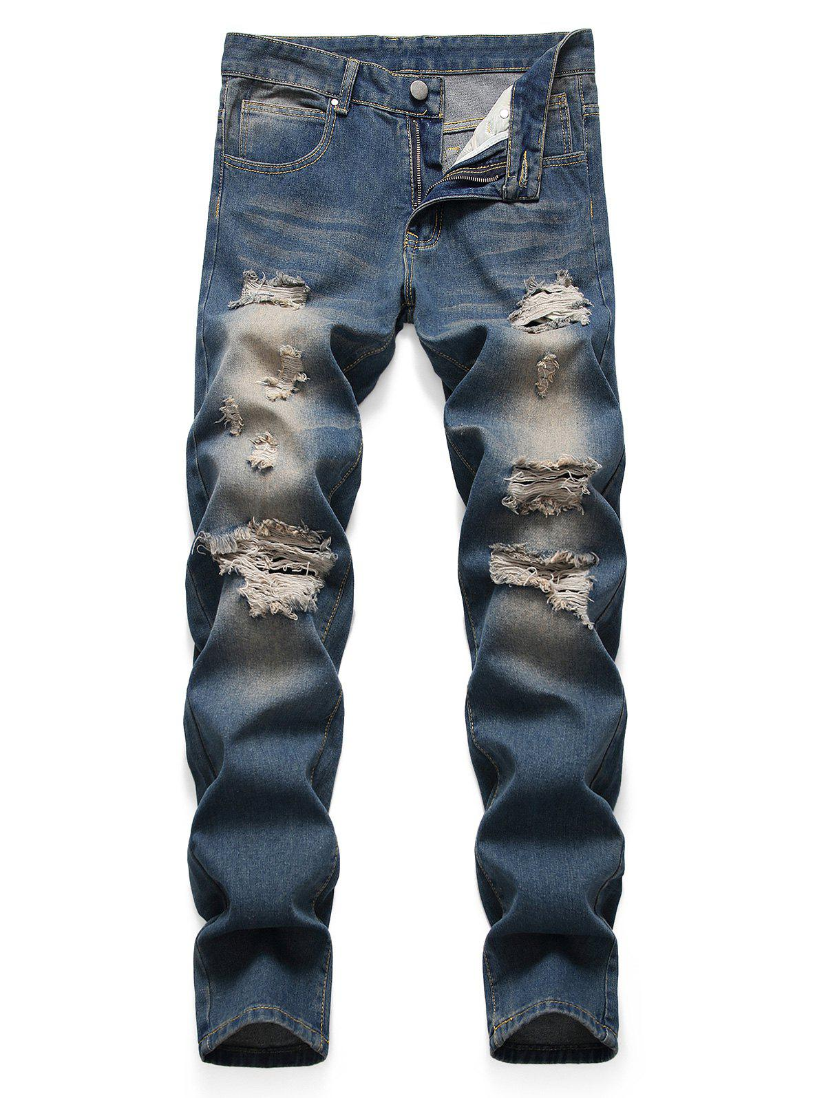 Affordable Retro Zipper Fly Ripped Denim Pants