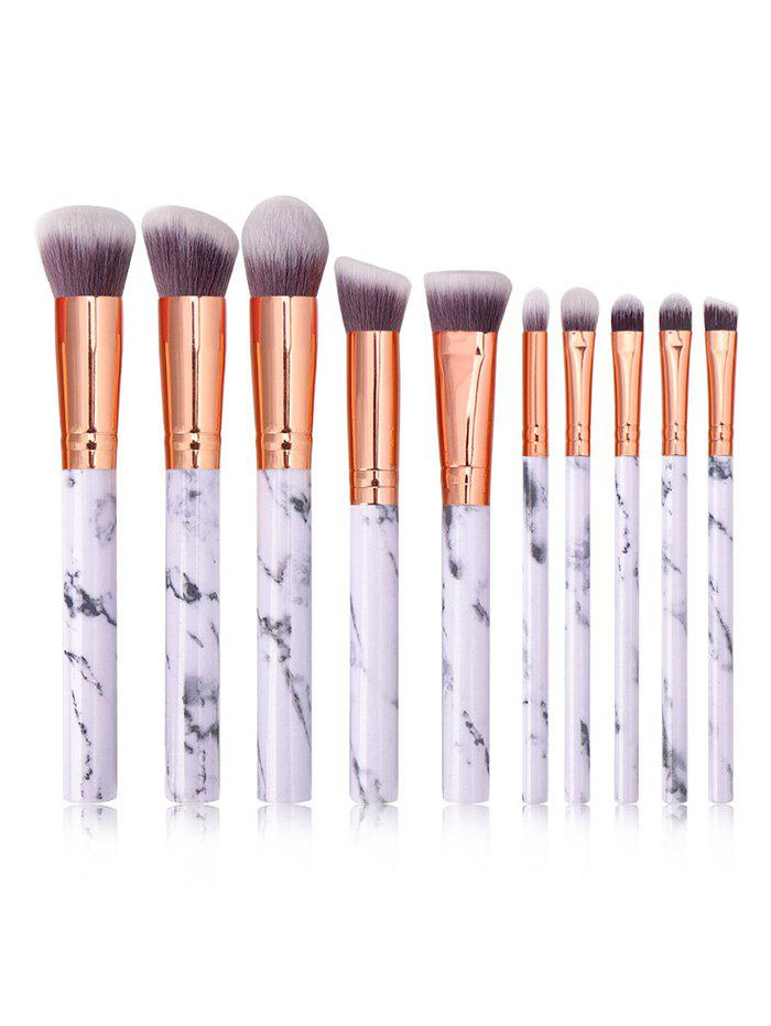 Trendy 10Pcs Marble Pattern Handle Makeup Brushes