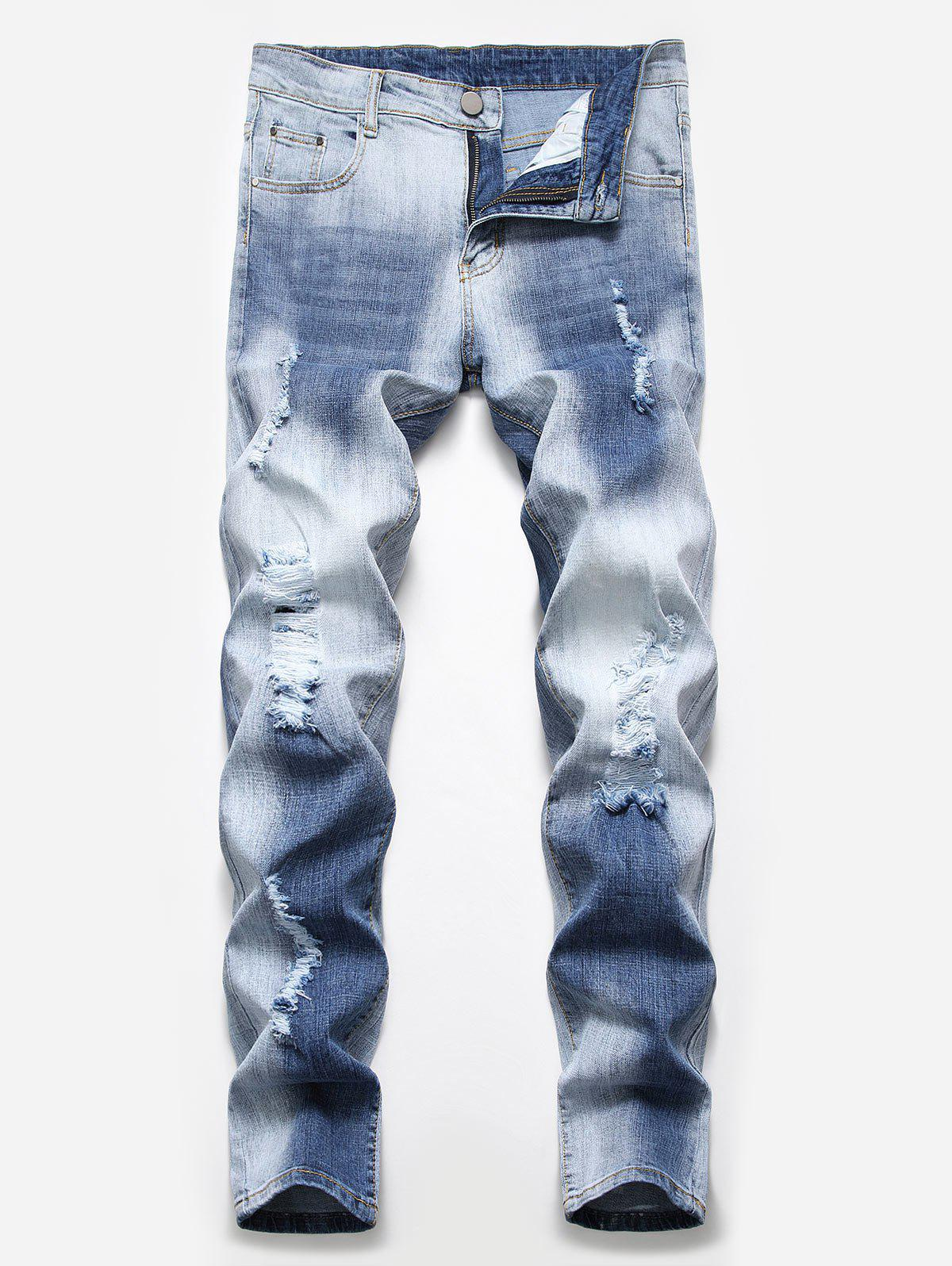 Chic Fade Washed Ripped Pencil Jeans