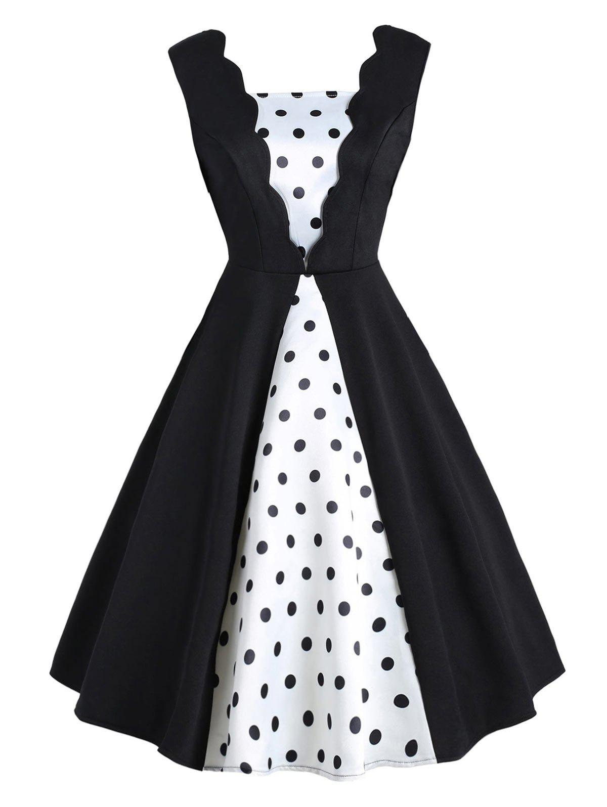 Sale Vintage Color Block Polka Dot Pin Up Dress