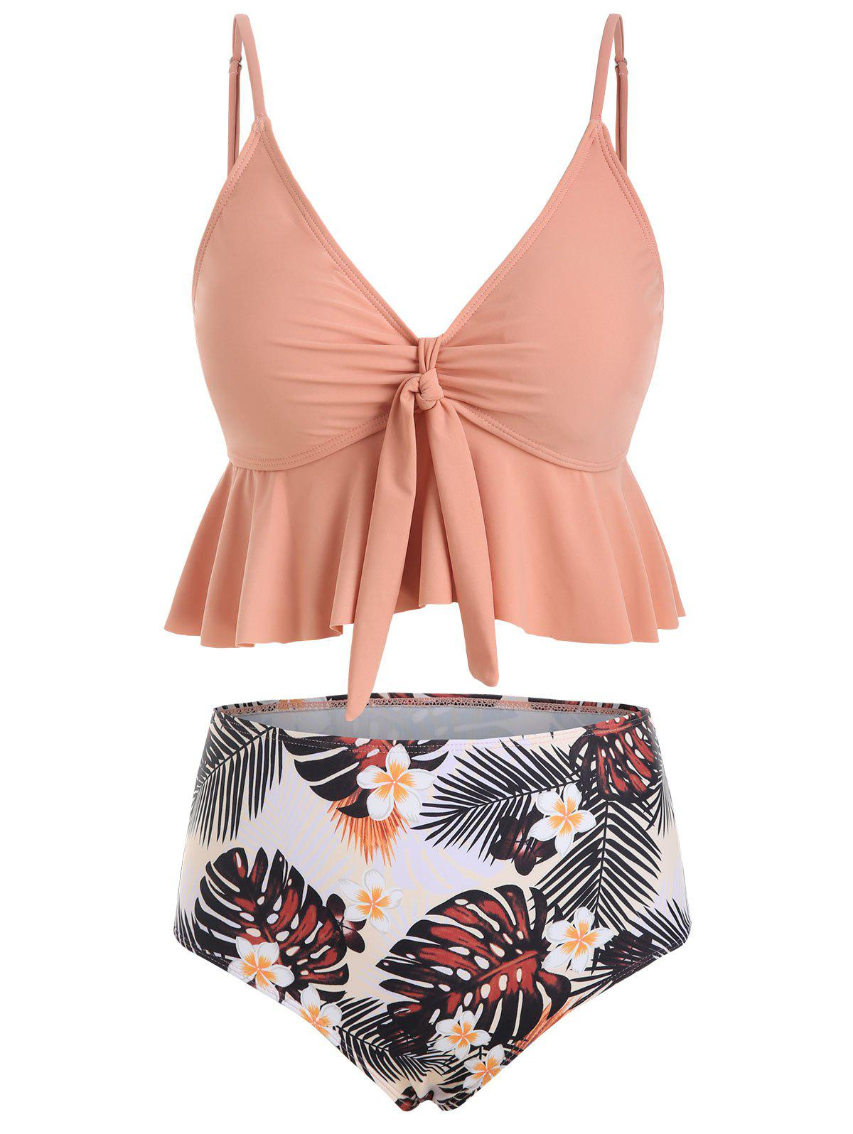 Best Floral Leaves Print Ruffles Tankini Swimwear