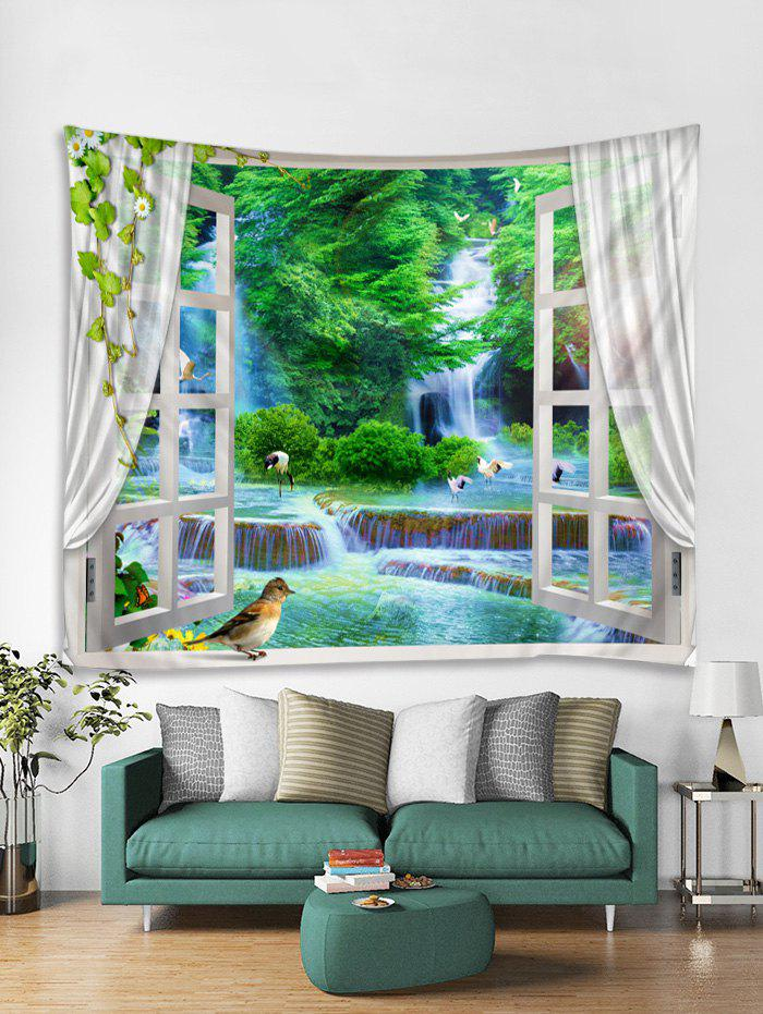 Online Window Forest Waterfall Print Tapestry Wall Hanging Art Decoration