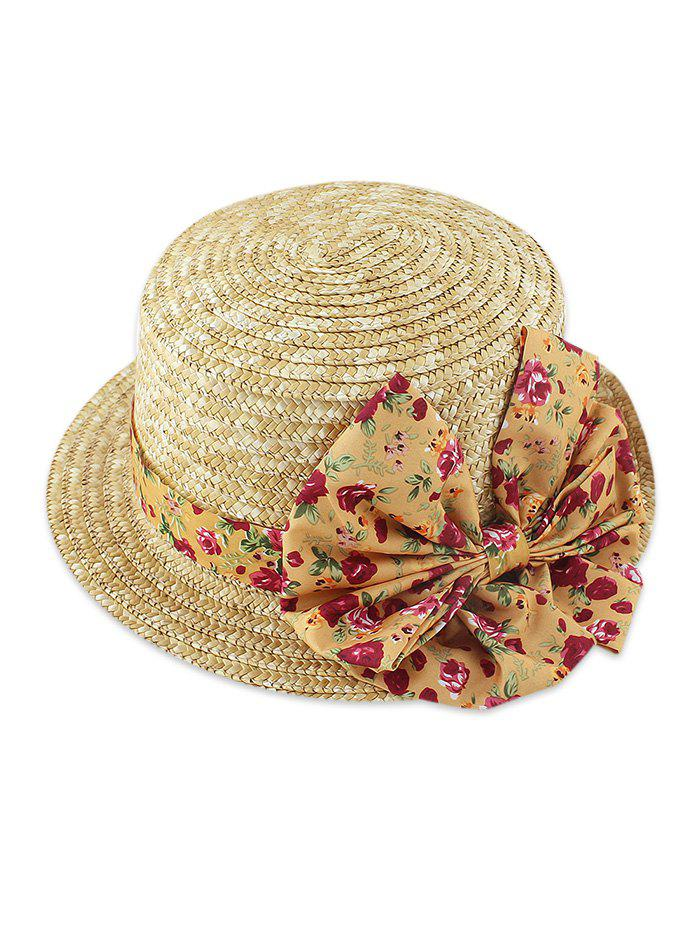 Flower Print Bowknot Decorate Straw Floppy Hat, Bee yellow