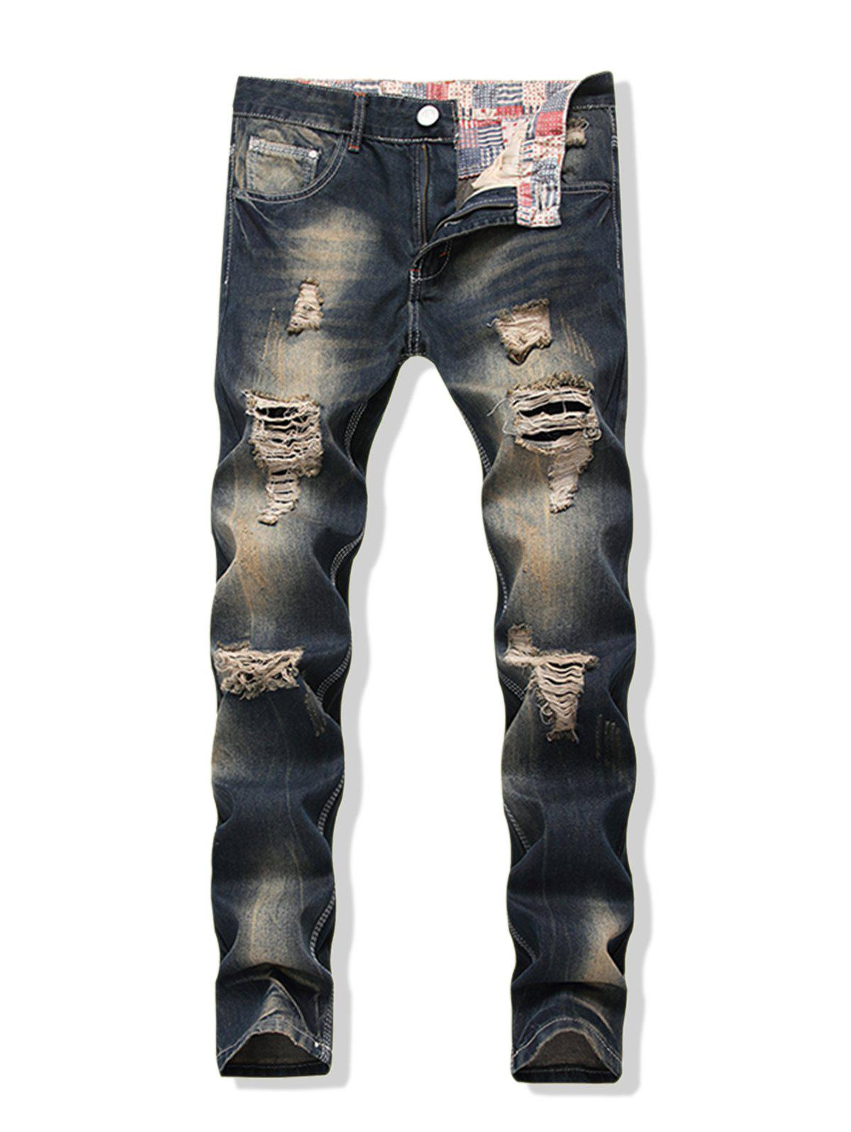 Chic Faded Wash Long Straight Ripped Denim Pants