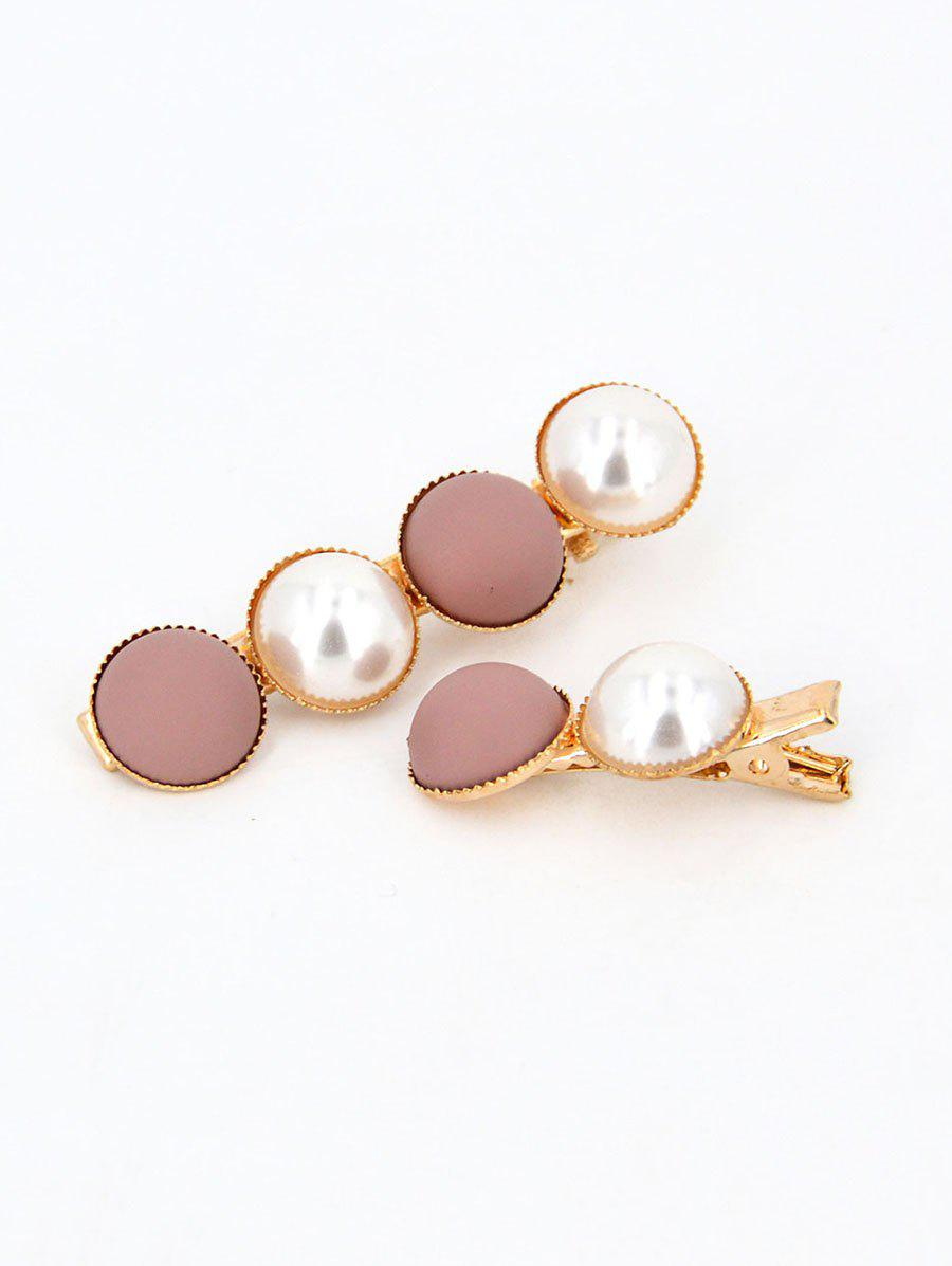 Shop 2 Piece Round Faux Pearl Hair Clip Set