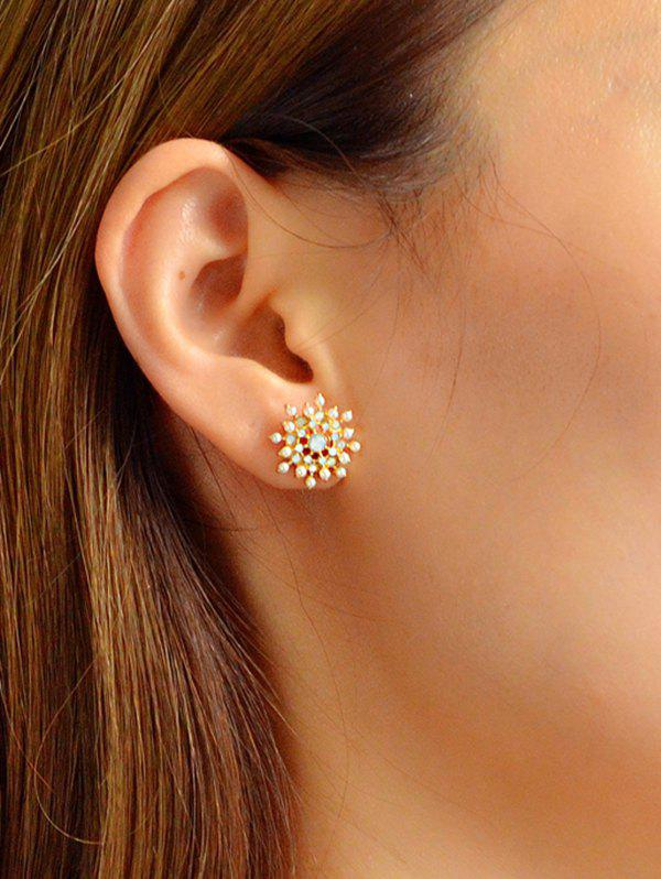 Outfit Artificial Pearl Snowflake Stud Earrings