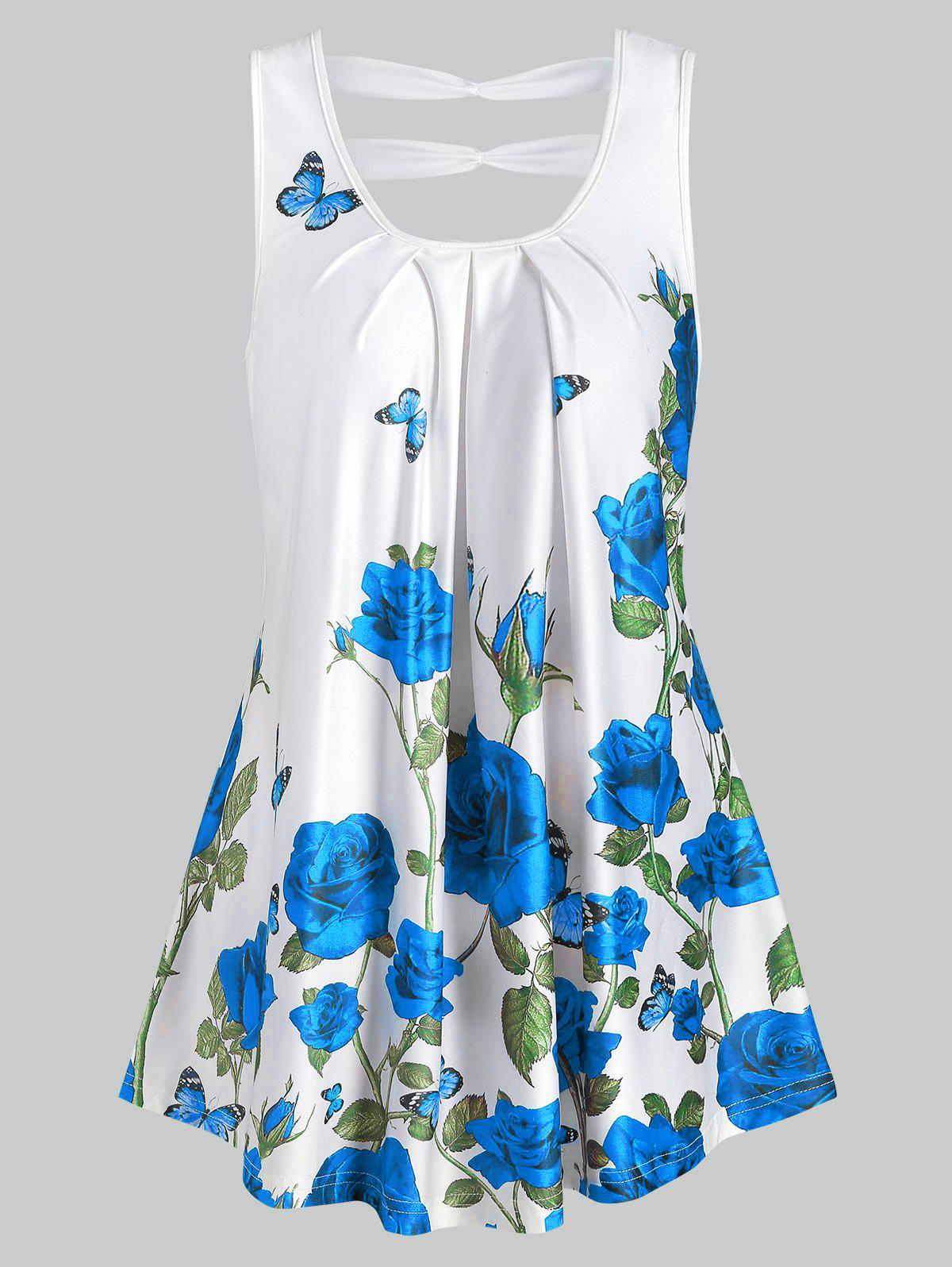 Trendy Rose Print Cut Out Pleated Tank Top