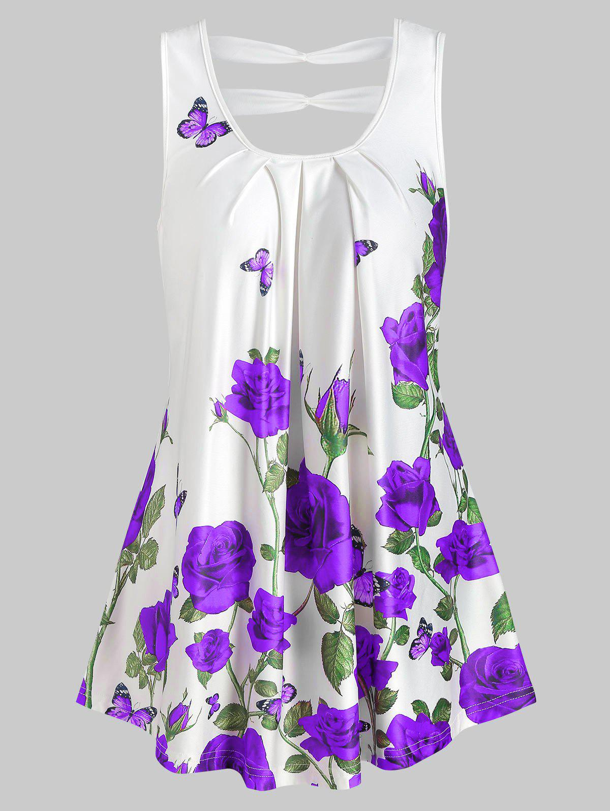 Best Rose Print Cut Out Pleated Tank Top