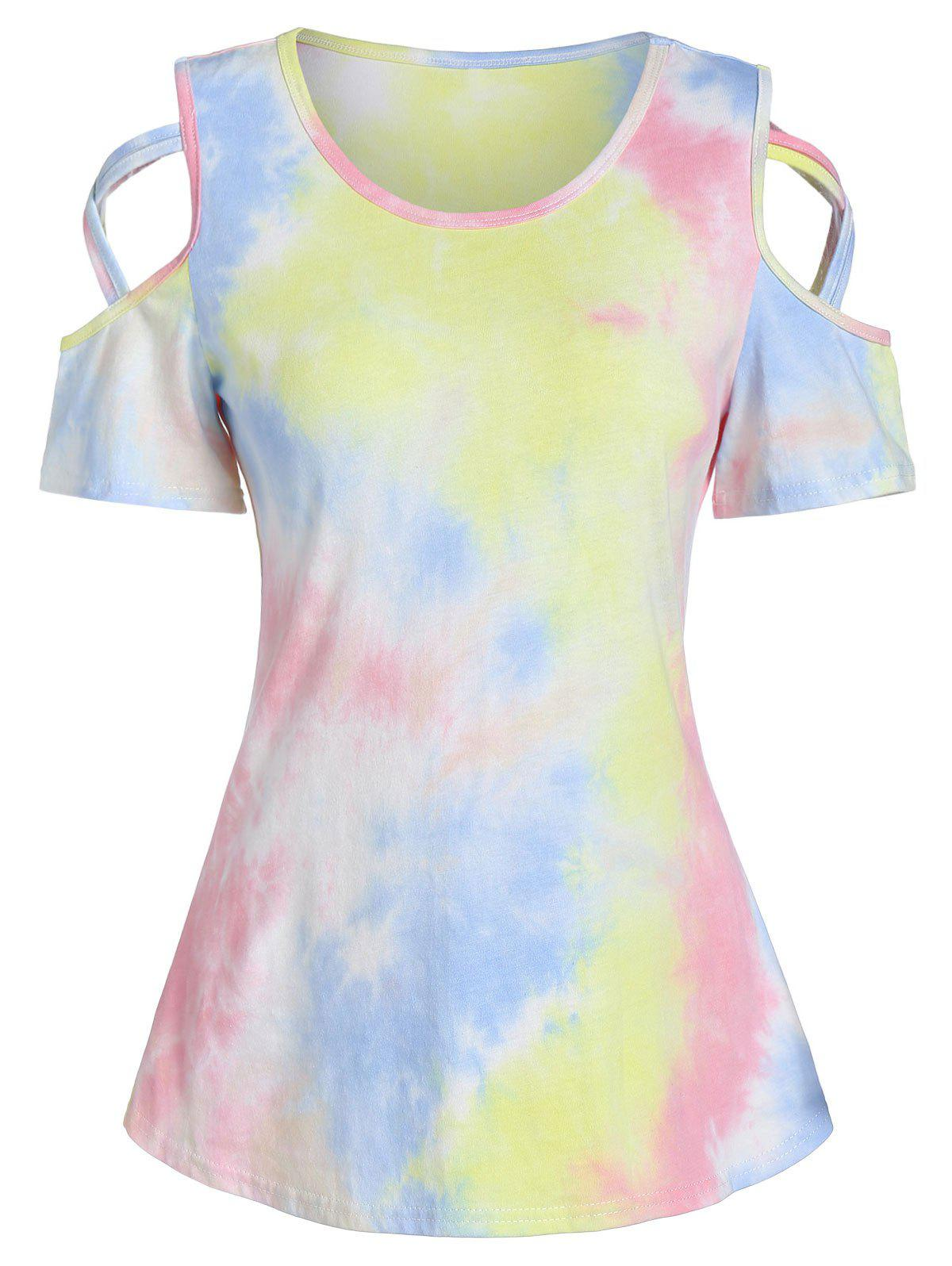 Shop Cold Shoulder Tie Dye Print Criss-cross T-shirt