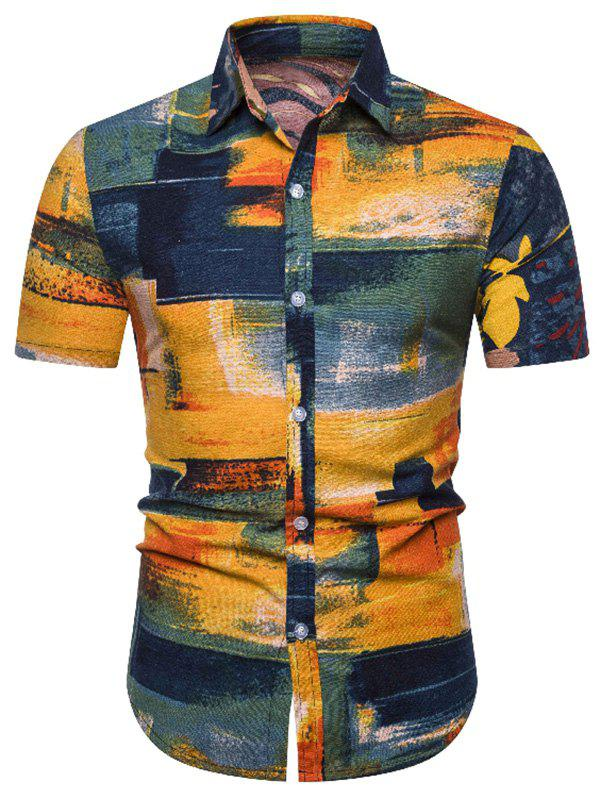 Buy Paint Brush Print Linen Button Down Shirt