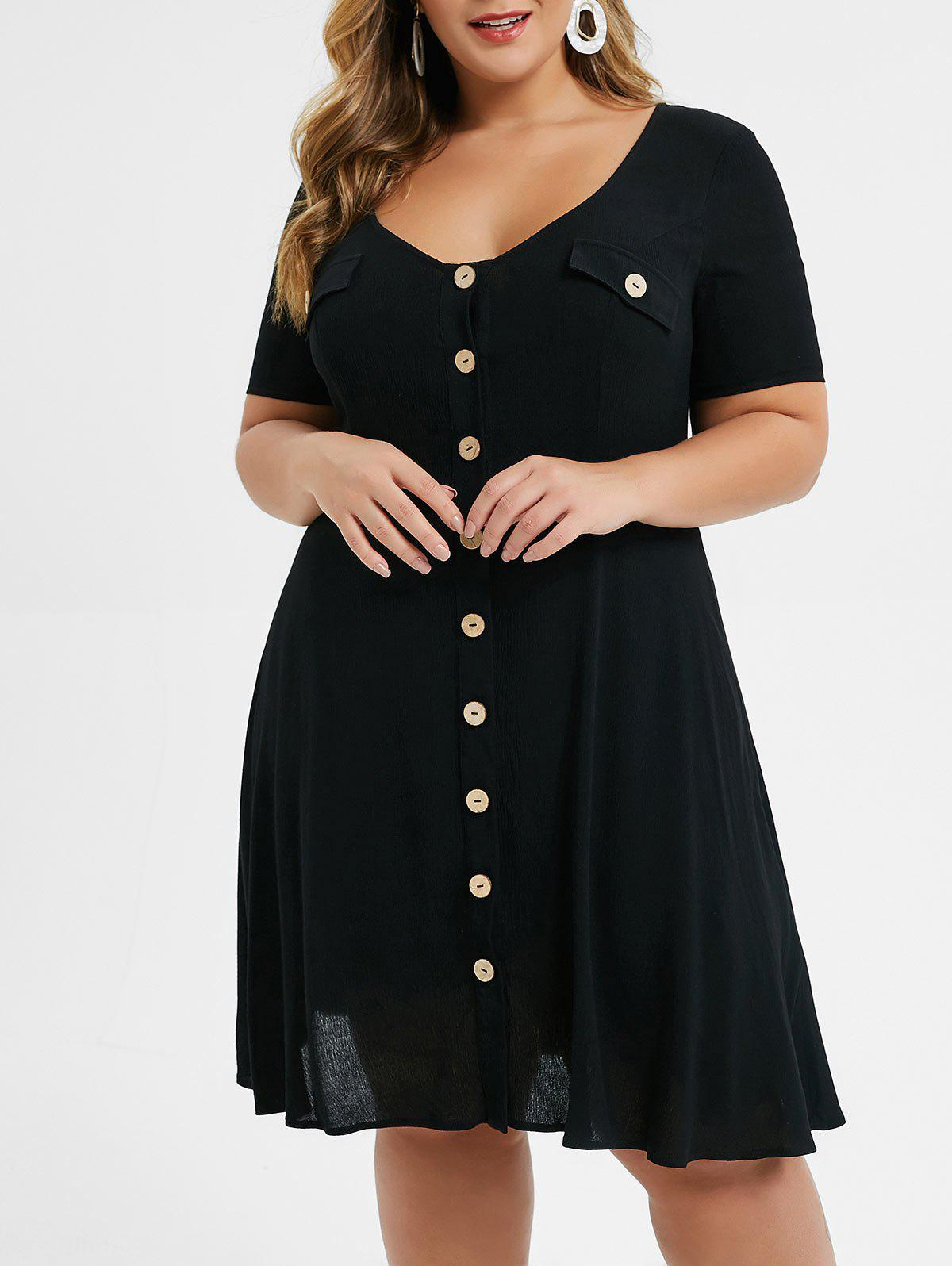 Trendy Plus Size Button Up Knee Length Dress