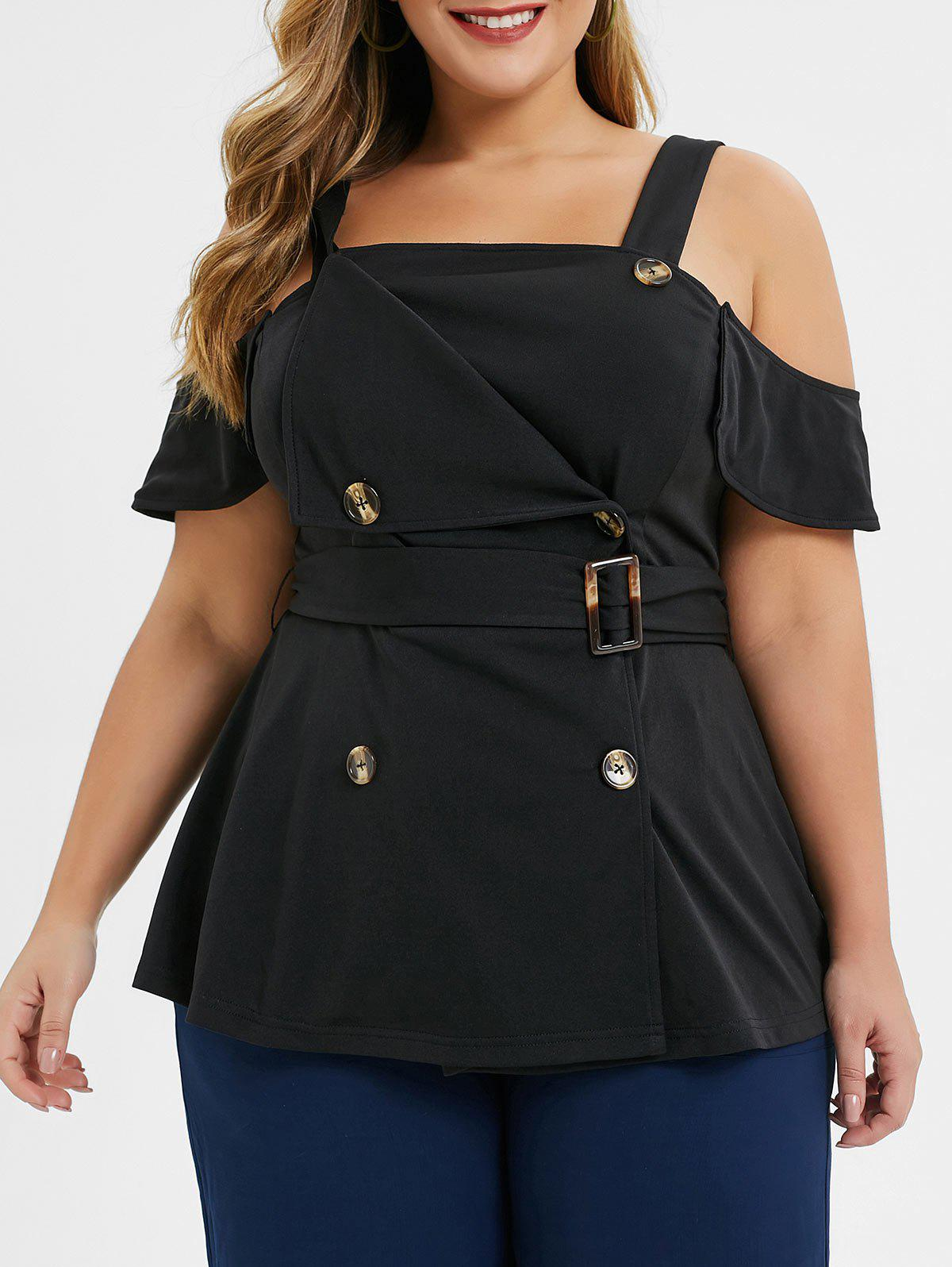 Plus Size Tailored Double Breasted Cold Shoulder Top фото
