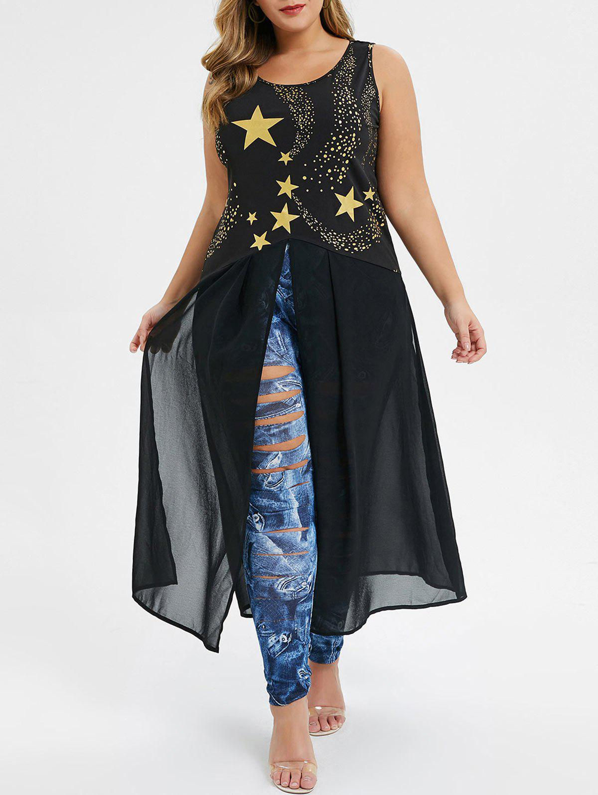 Online Plus Size Star Print Slit Long Tank Top