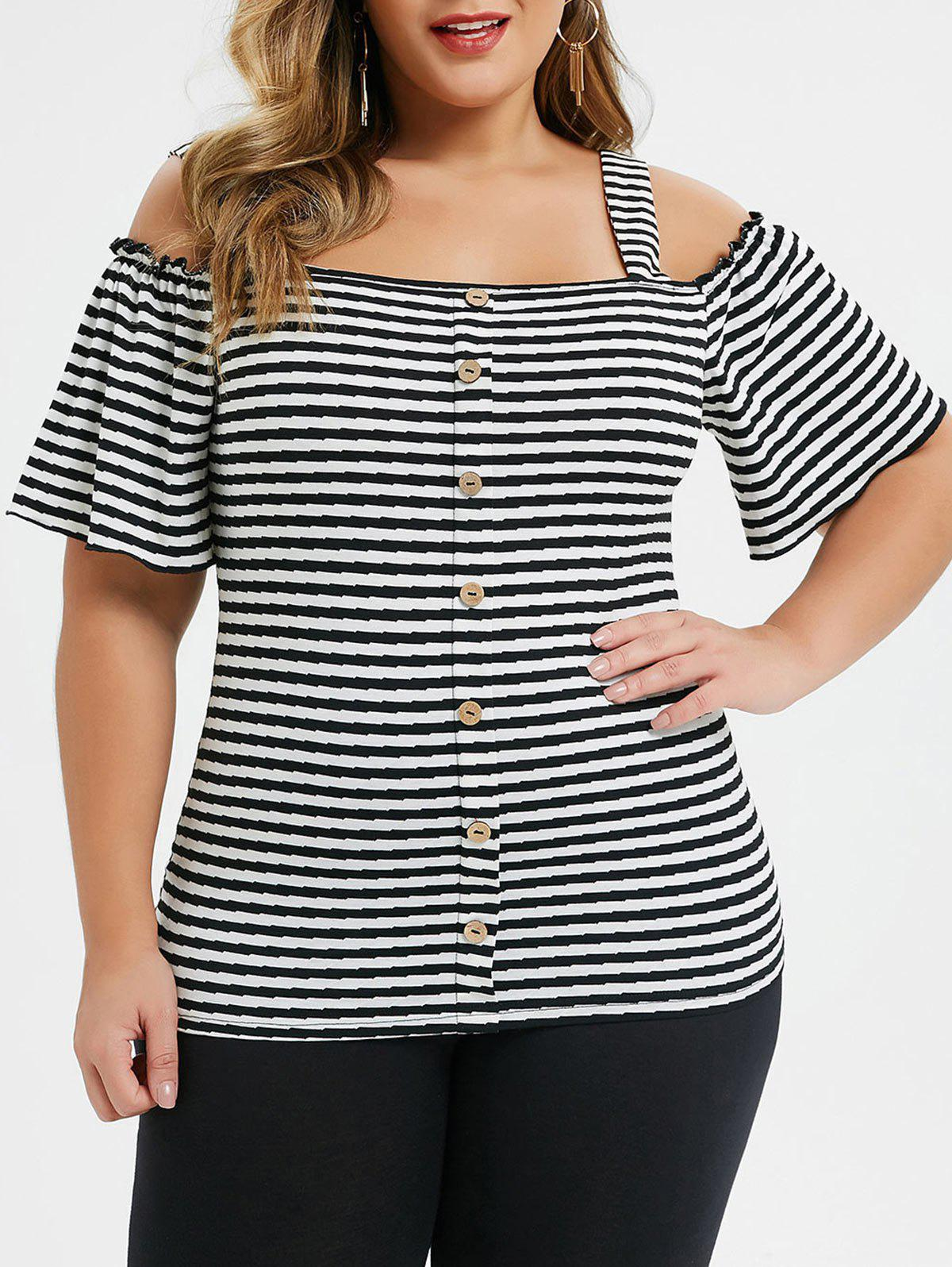 Outfit Plus Size Cold Shoulder Striped Buttoned Square Neck Tee