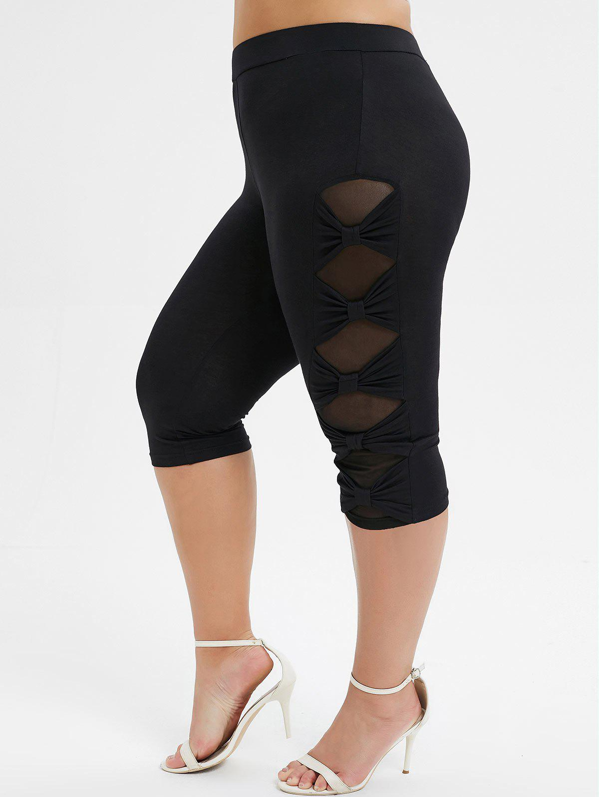 New Plus Size  Bowknot Mesh Panel Capri Leggings