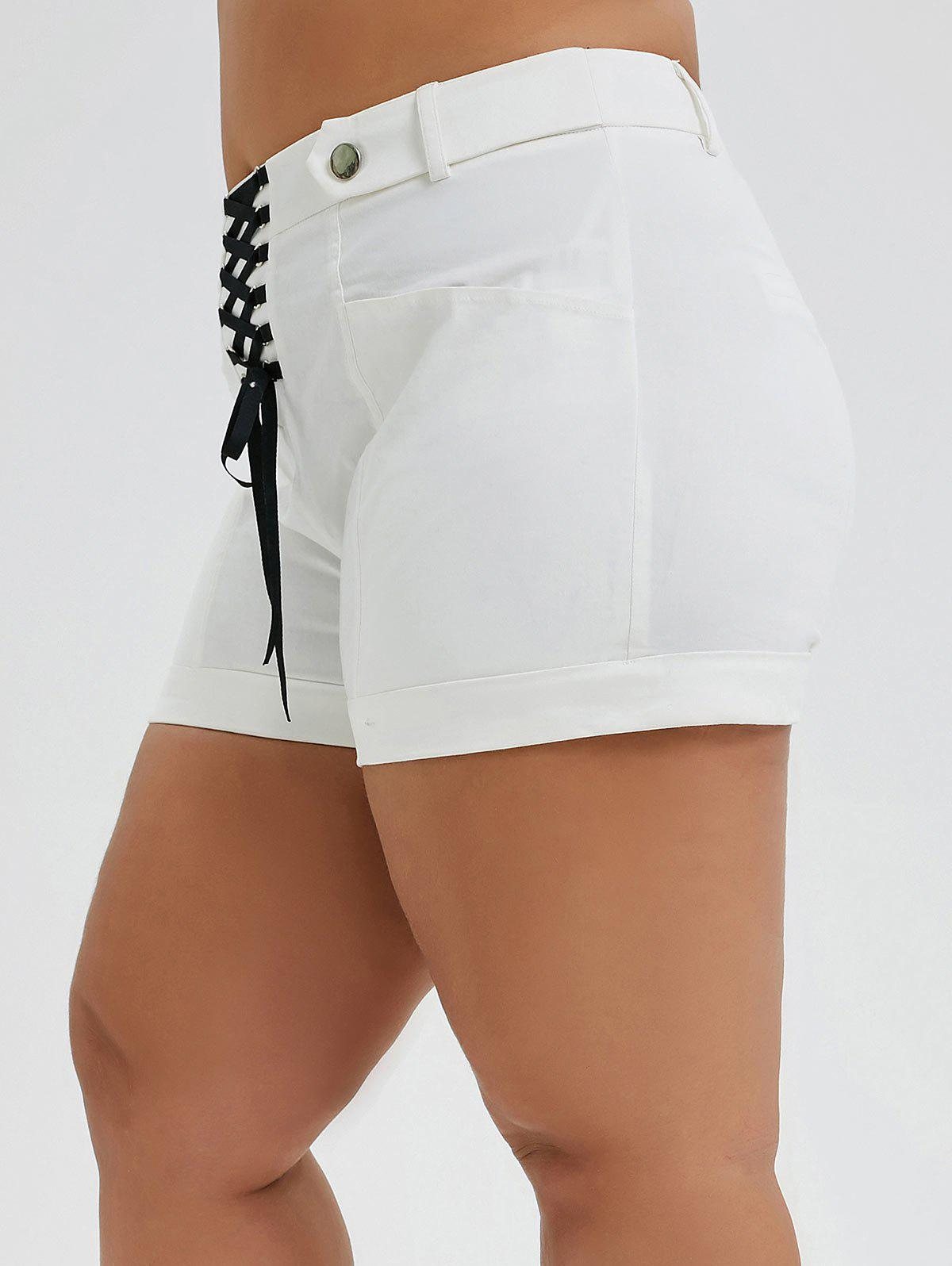 Online Plus Size Cuffed Lace-up Shorts